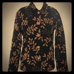 Coldwatercreek gold/leaves tapestry/embroider coat